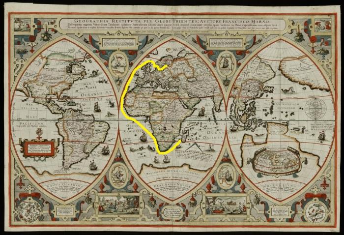 Карта мира XVII века с предполагаемым маршрутом экспедиции к Мадагаскару.   Фото: philologist.livejournal.com.